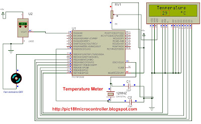 Temperature Meter using  Microcontroller and  LM35 Temperature Sensor