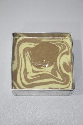 Two Tone Kitchen Table Tuscan Design 爱厨房的幸福之味: 可可卡布基诺双色相思蛋糕 Cocoa Cappuccino Ogura Cake