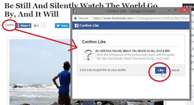 Facebook Like Button Confirm