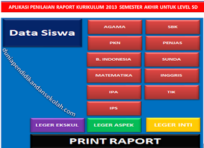 Download Aplikasi Buku Nilai Dan Raport Kurikulum 2013 Revisi Sd Semester Ii Format Excel