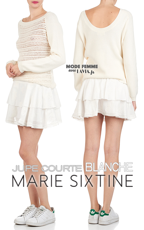 Jupe courte blanche en voile de coton brodé à volants Marie Sixtine 85e41fbbc1b5