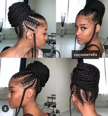 fantastically braided and then styled into a high bun