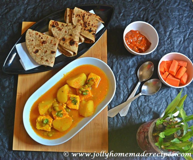recipe: aloo matar paneer (simmered potatoes with peas and paneer) [8]