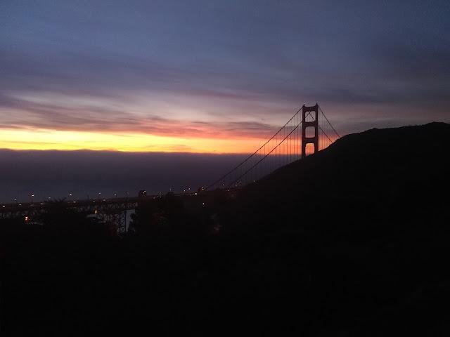 golden sky over the Golden Gate Bridge