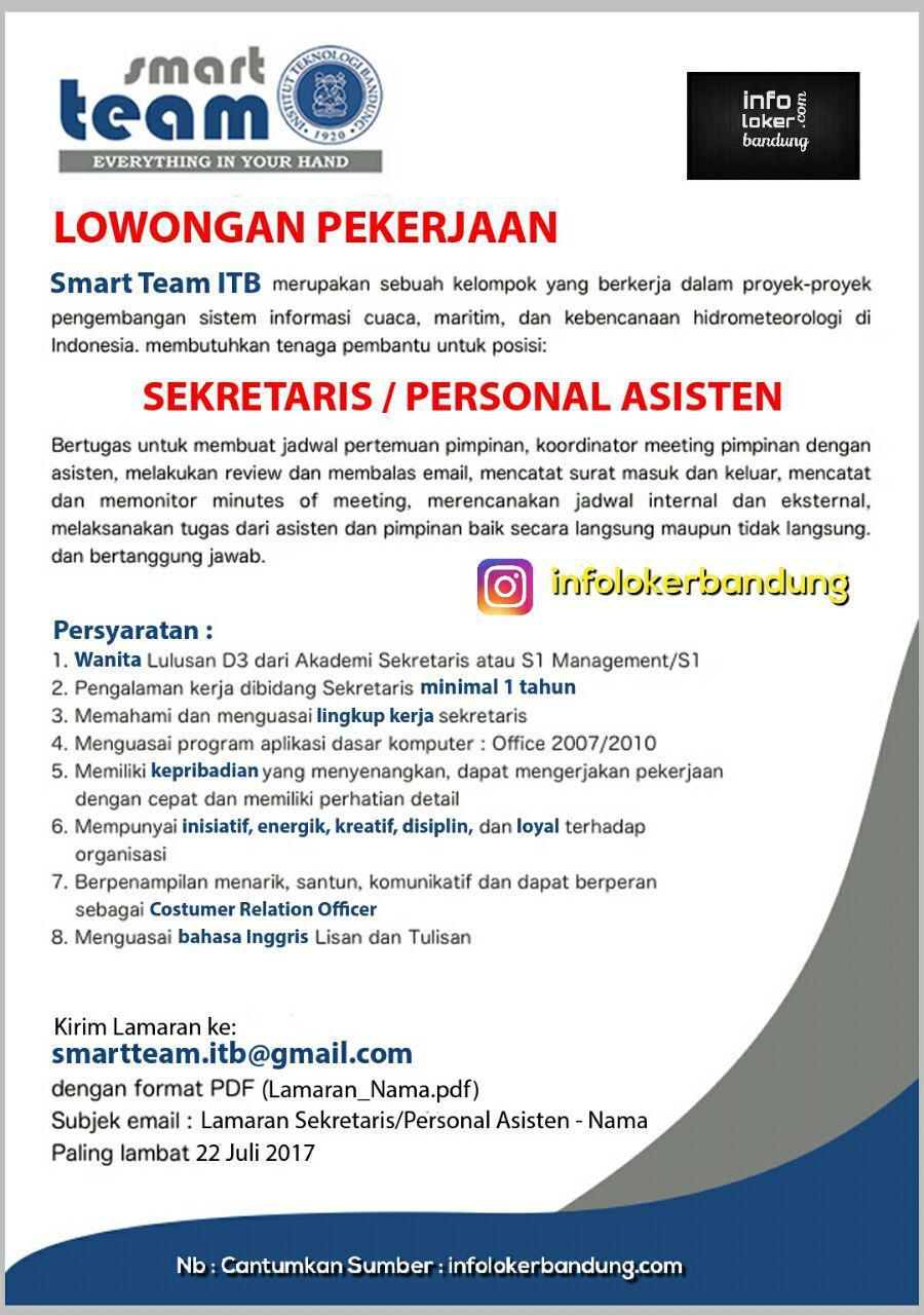 Lowongan Kerja Smart Team Institut Teknologi Bandung ( ITB ) Juli 2017