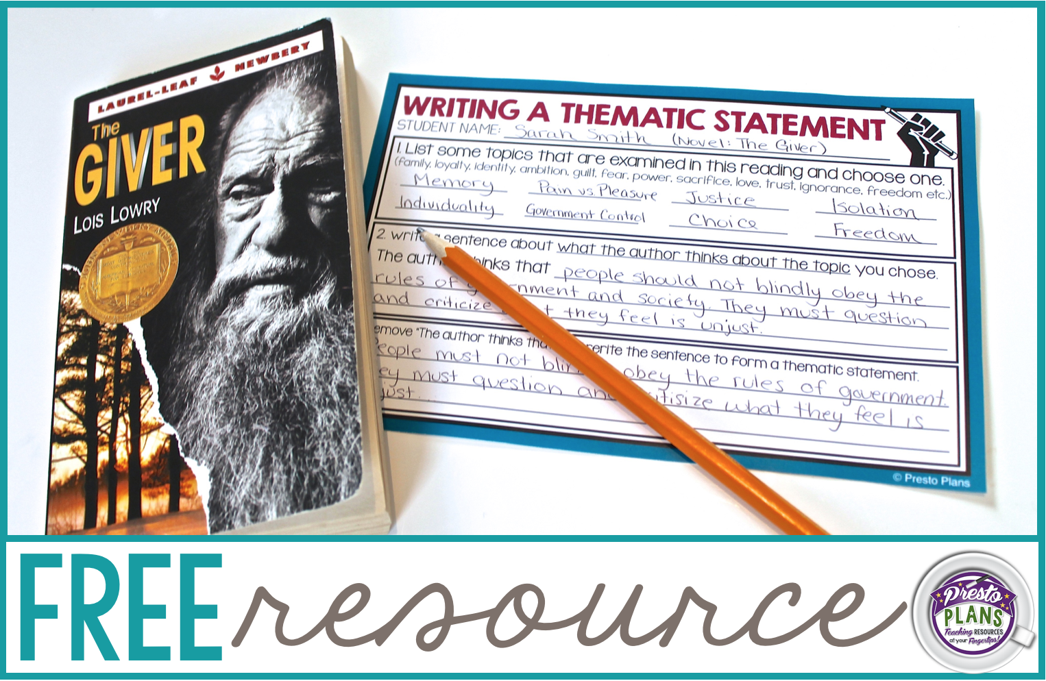 Teaching theme?  This FREE resource will help your students develop a thematic statement!
