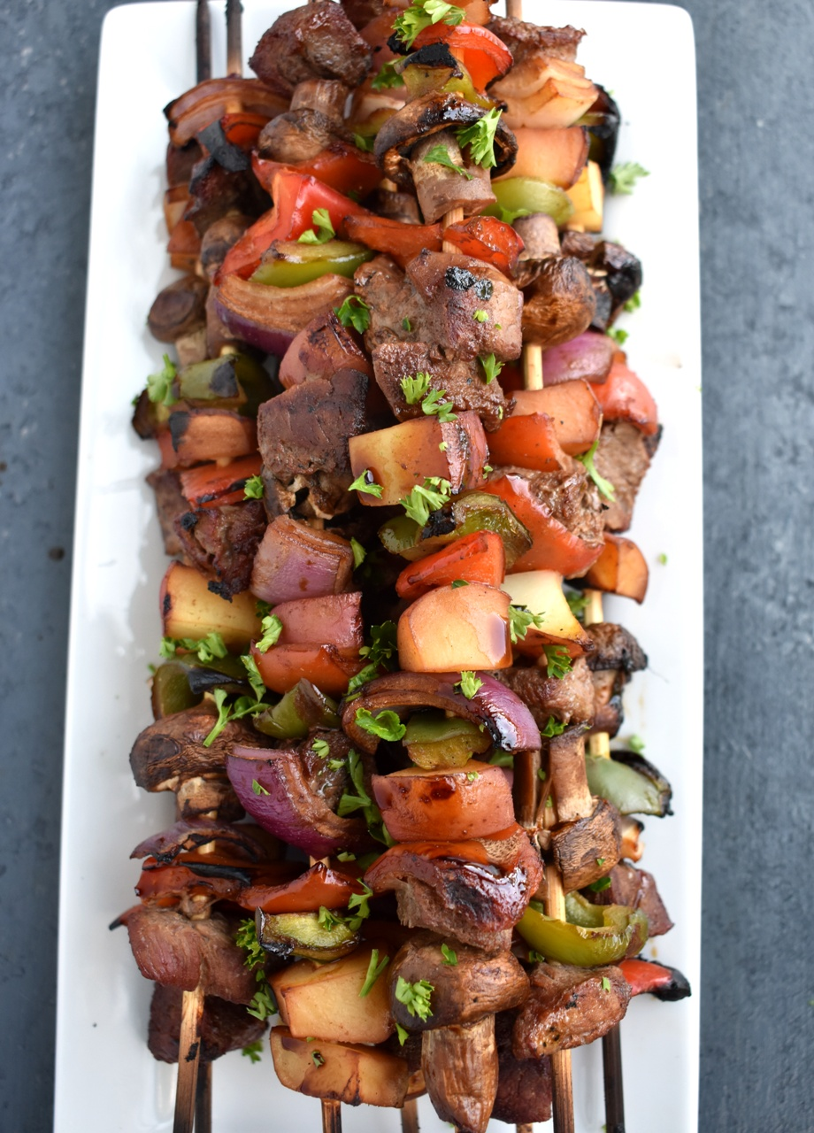 Soy Molasses Steak Kebabs