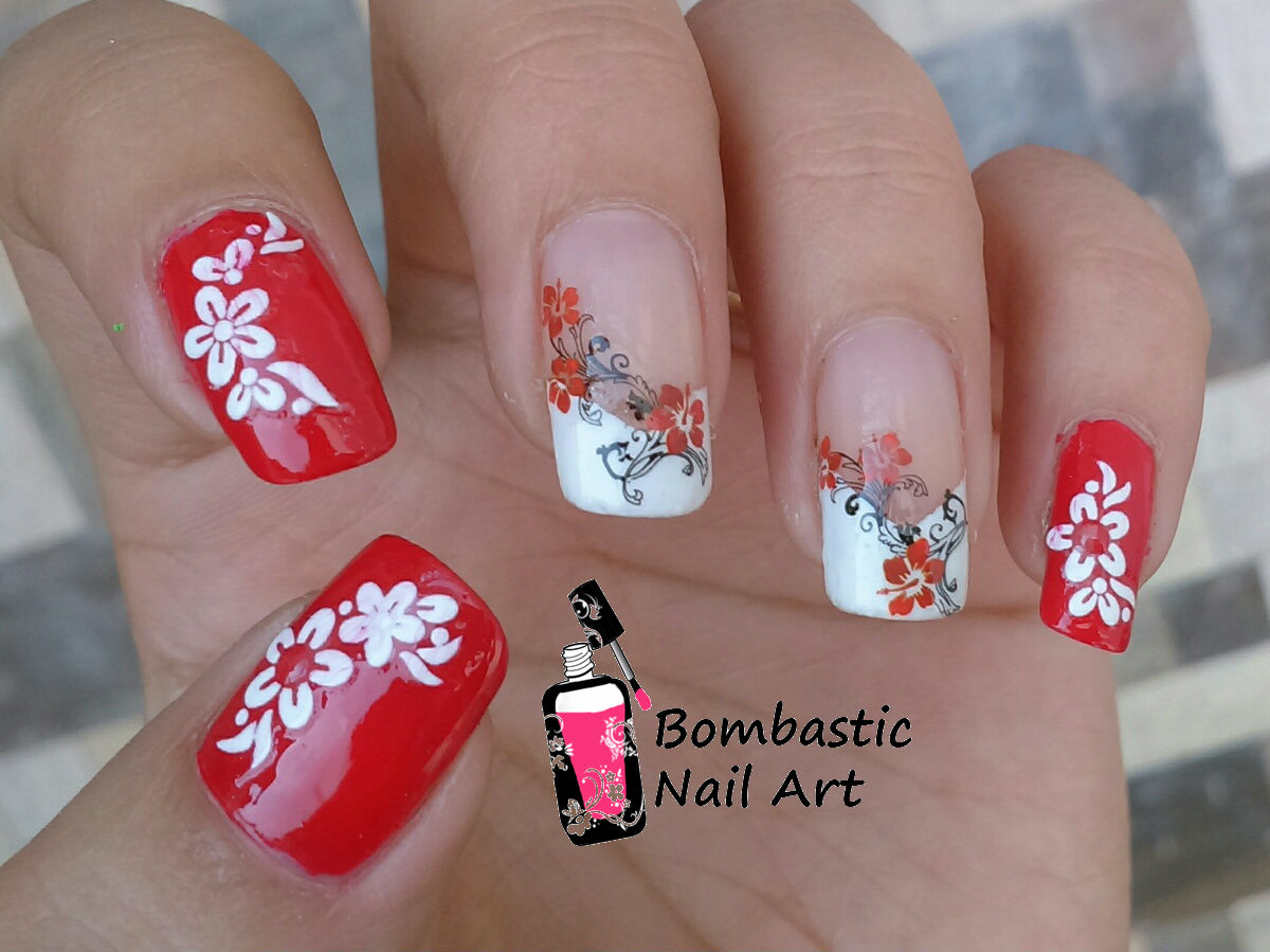 Red Flower Nail Art With Water Decal And French Manicure