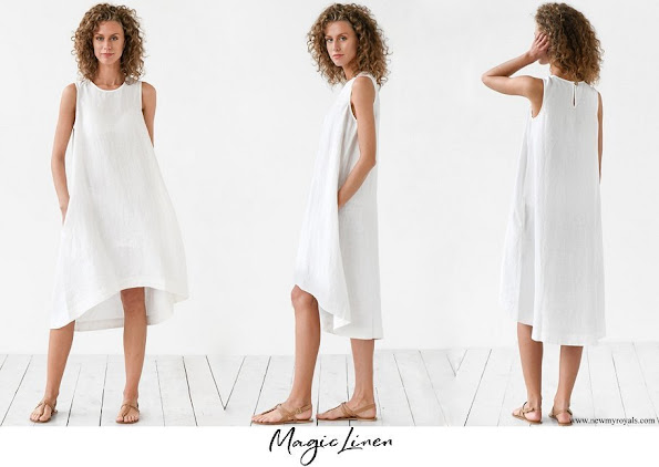 Meghan Markle wore Magic Linen white linen dress Toscana Asymmetrical sleeveless  knee length linen summer dress