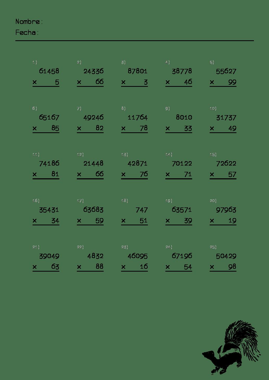 hojas de ejercicio de multiplicaciones para primaria