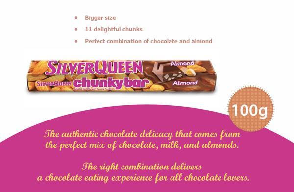 Contoh Iklan Coklat SilverQueen Chunky Bar Almond dalam Bahasa Inggris