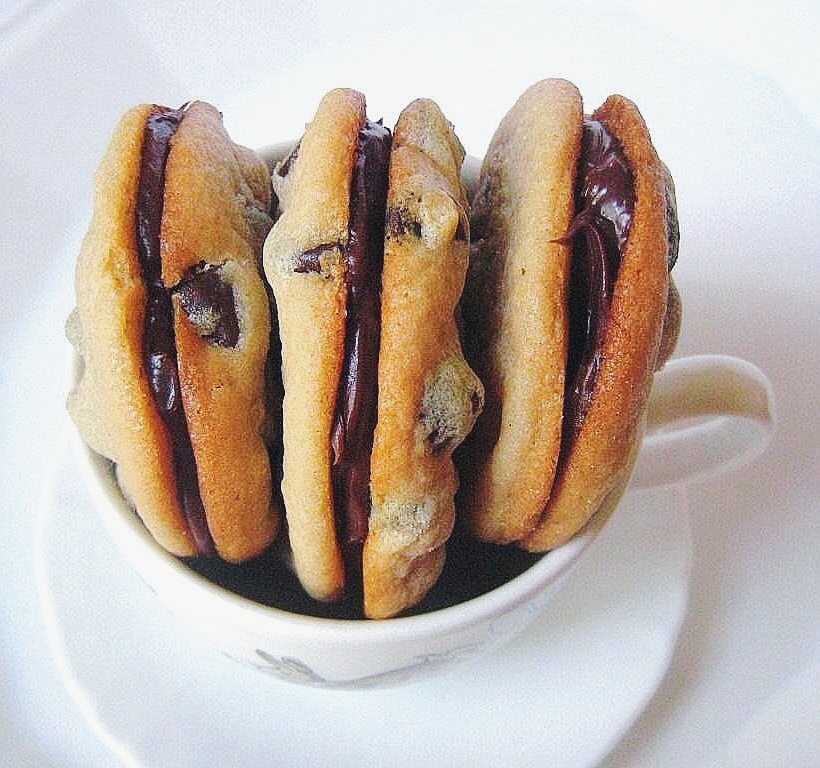 Ganache-Filled Peanut Butter + Chocolate Chip Cookies