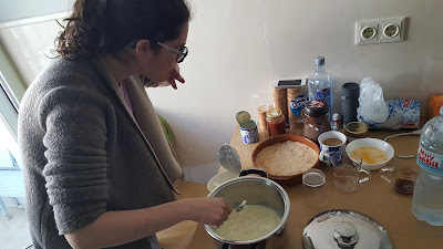 Cristina making cheesecake for Julia's birthday