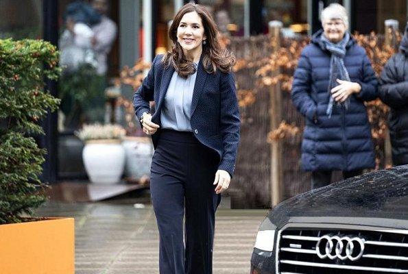 The Danish Heart Association. Crown Princess Mary wore Massimo Dutti polka dot print jacket. Buckle tie neck silk blouse