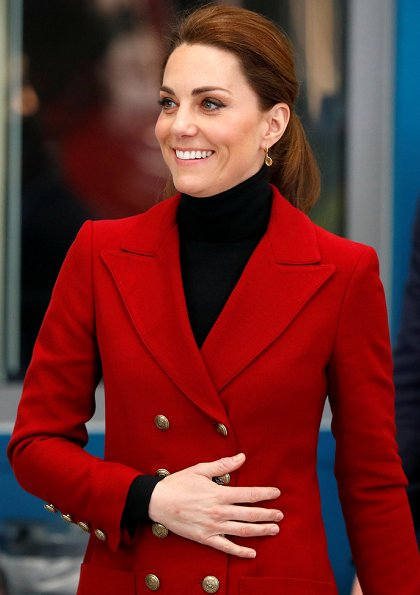 Kate Middleton wore a red Philosophy blazer and Kiki McDonough citrine pear drop earrings