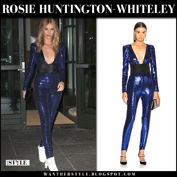 Rosie Huntington-Whiteley in blue sequin jumpsuit dundas and white ankle boots New York Fashion Week outfits 2018