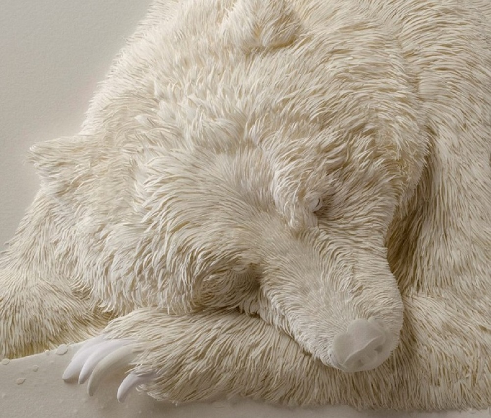 If You Think That's A Sleeping Polar Bear, Then Look Closely... You'll Be Amazed! - Calvin has worked for 25 years to perfect his medium of choice: paper.