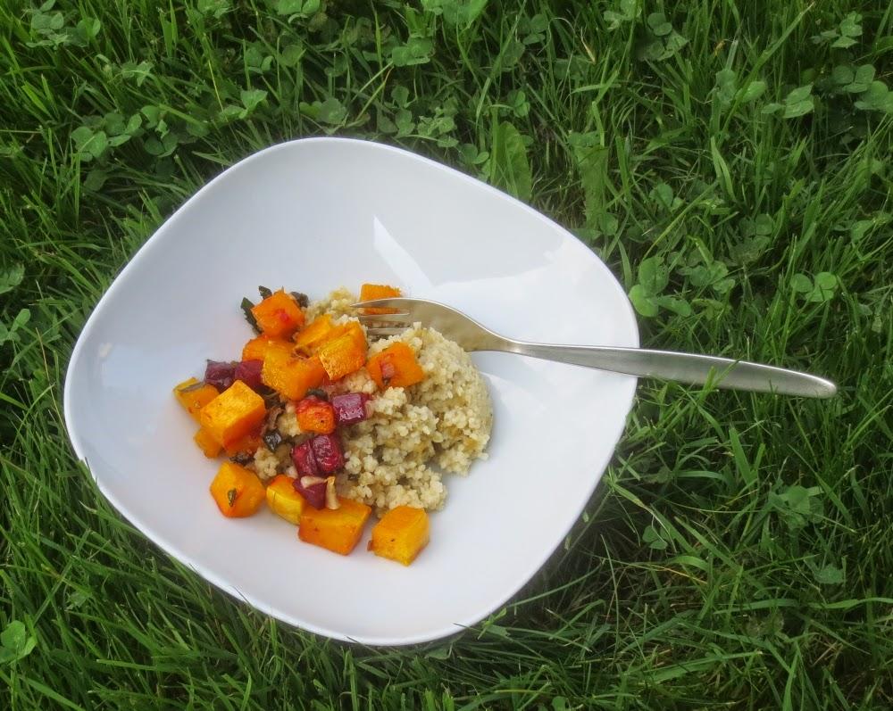Rote Bete und Butternut aus dem Backofen; Herbstliches Backofengemüse