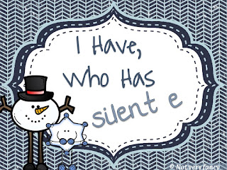 "Silent e ""I have, who has?"" games from Not very fancy in 1st"