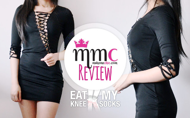 As you can probably tell from some of my recent reviews (like this and this), the lace-up fashion trend is everywhere this season, and I'm loving it! So for today's shopping post, I'll be reviewing a sexy black lace-up front bodycon dress from Make Me Chic! - Eat My Knee Socks/Mimchikimchi