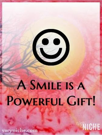 """A smile is a powerful gift."" Emoticon and text over painting by Shari Monner, VaryNiche.com"