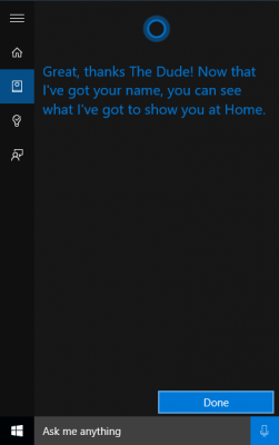 Selesai untuk konfirmasi nama panggilan Cortana baru Windows 10