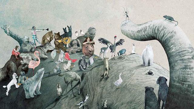 ilustración del libro La Pregunta del Elefante realizada por la ilustradora belga Kaatje Vermeire