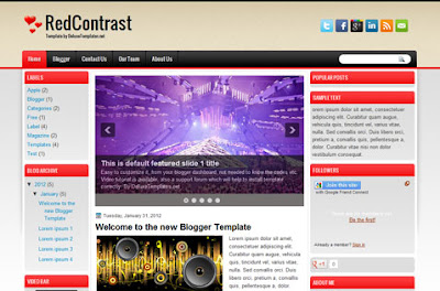 Red Contrast Blogger Template Free Download