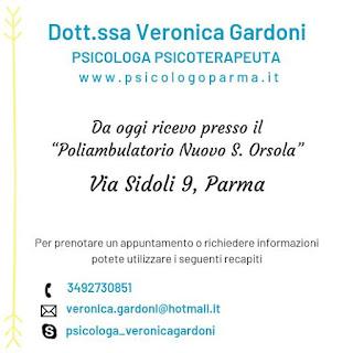 da oggi la psicologa psicoterapeuta Veronica Gardoni riceve a Parma in via Sidoli 9