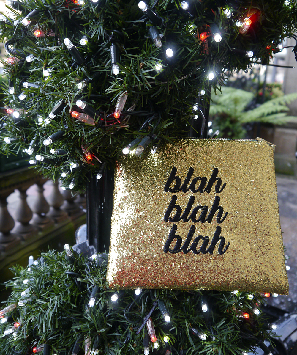 christmas gift guide 2016, gold glitter clutch bag, christmas present, christmas tree on george street, the dome edinburgh christmas