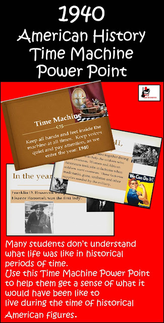 Free 1940 Time Machine Power Point - Builds background knowledge for students about the era around World War II in the United States - Free Download from Raki's Rad Resources.