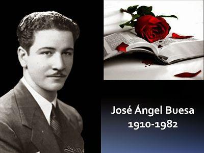 José Ángel Buesa. Datos del autor. Sobre la izquierda se encuentra el poeta. A la derecha un libro abierto con una rosa roja y debajo la fecha de su nacimiento y muerte