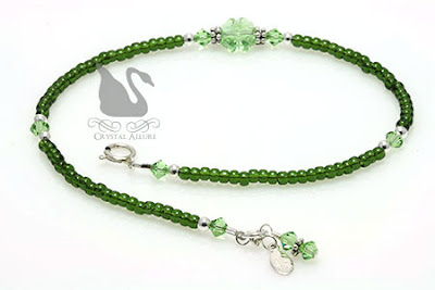 Crystal Green Lucky Charms Shamrock Anklet (A113)