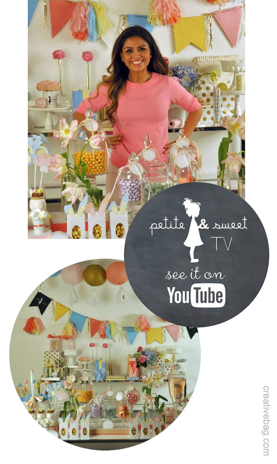 Easter sweet table diy as seen on YouTube | Petite & Sweet | Creative Bag (.com)