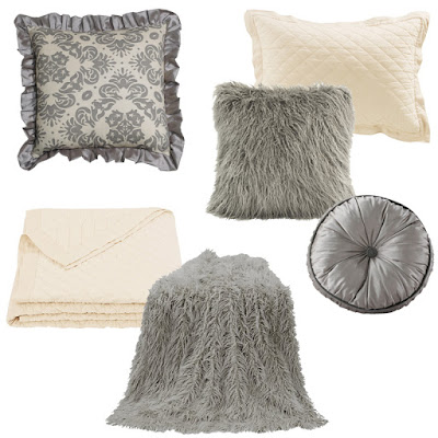 Kerrington bedding collection euro and gray accent pillow, Gray Mongolian Faux Fur Pillow and Throw