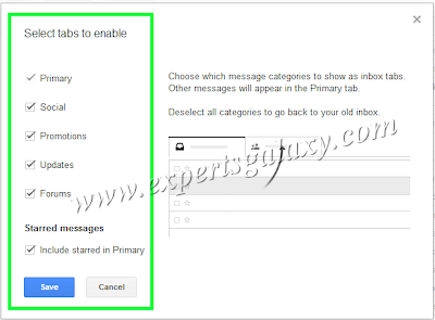 Select Gmail Inbox Tabs