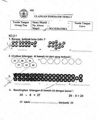 Formatif Tema 5 (Matematika) SD Kelas 1 TA.2015/2016 ...