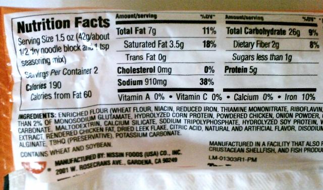 Ramen Noodles Nutrition Label