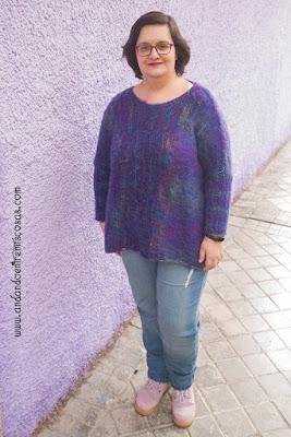 Jersey de pelo en color morado