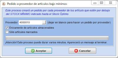 Muestra la pantalla para configurar el pedido a proveedor de artículos bajo mínimos del programa para taller