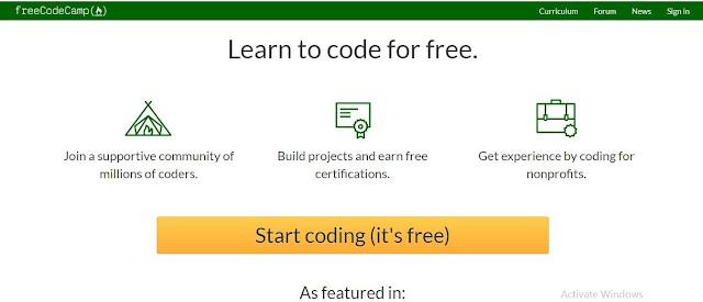 موقع Free food camp لتعلم البرمجة مجانا