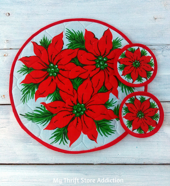 Matching handmade poinsettia placemat and coasters