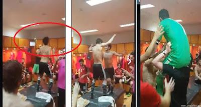 بالفيديو | هذا ما فعله الفريق المصري فى غرفه الملابس بعد الفوز فى المباراه
