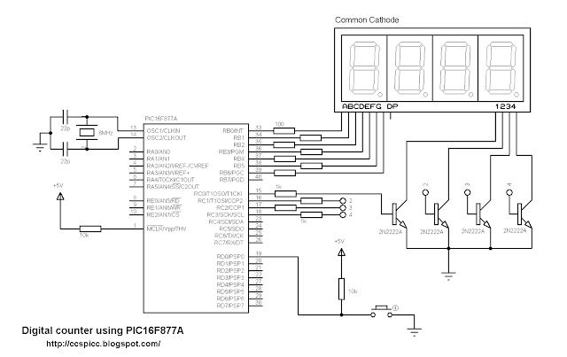 digital counter pic16f877a 7 segment display ccs pic c common cathode