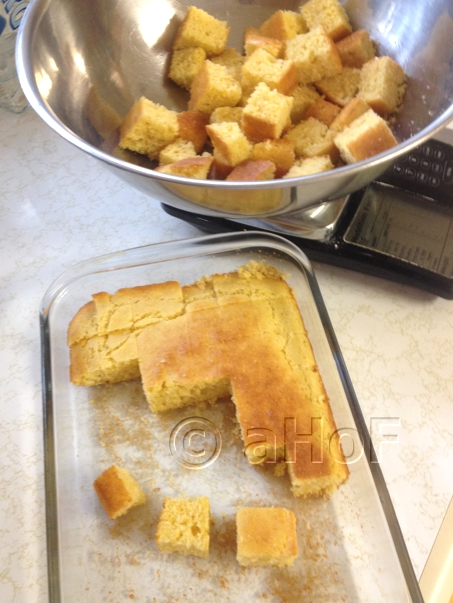 My Quick & Easy Cornbread in cubes for stuffing