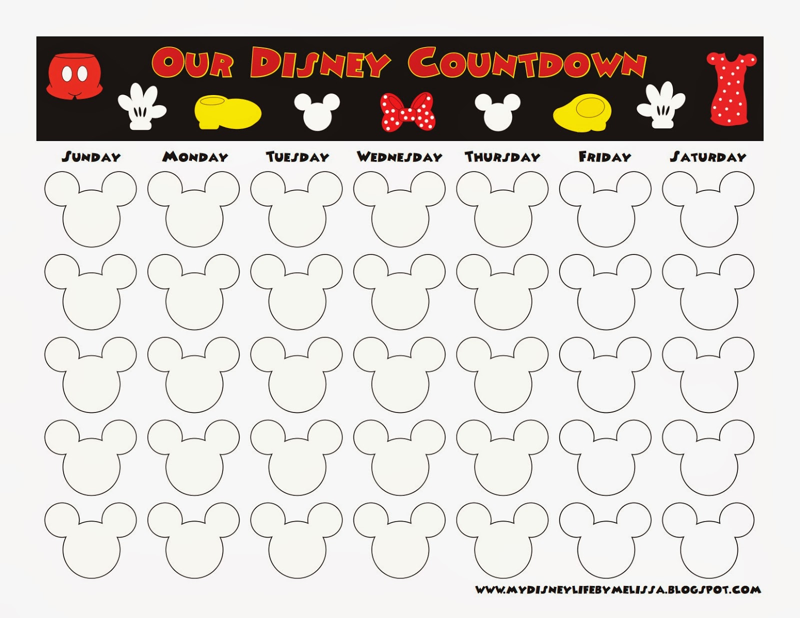 Countdown calendar printable calendar template for Countdown chart template