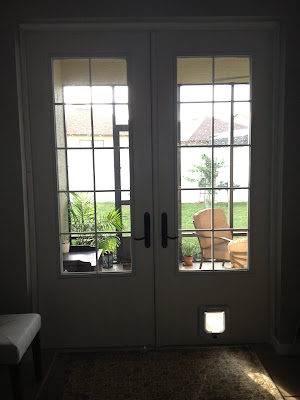 French doors with cat door