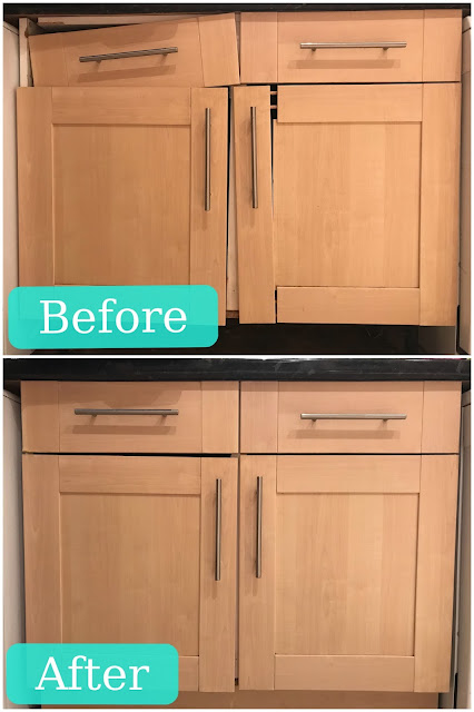 Before and After photographs of a pale wood kitchen cupboard. In the before photo the side is falling off and the door panel is falling off. In the second it is all fixed