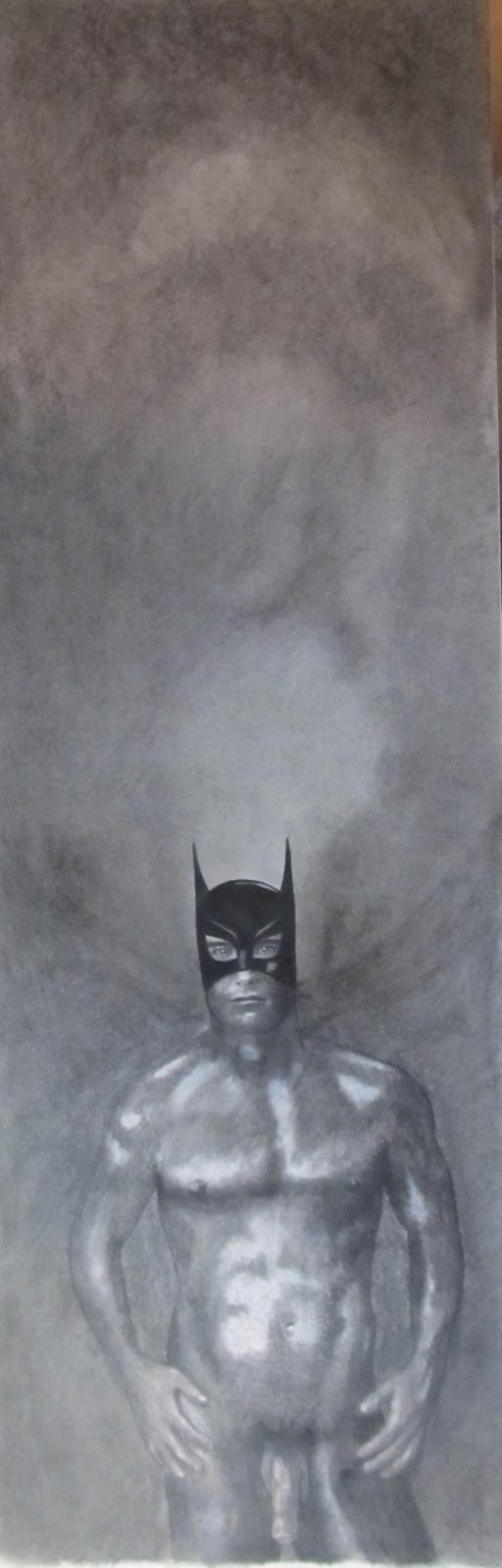 The Batman Naked - A drawing by F. Lennox Campello