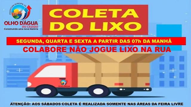 A Prefeitura de Olho d' Água do Casado divulga novo cronograma de coleta de lixo no município